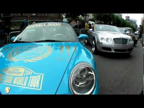 Exotic cars on the start line of the 2008 Gumball 3000 Rally