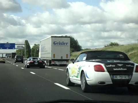 Gumball 3000, 2011, Veyron, SLR and Continental GTC on motorway near Paris