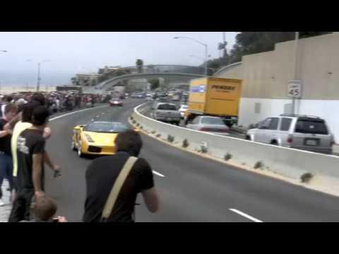 Gumball 3000 Bugatti Veyron 2010, SSC, SLR Roadster, Chrome Lamborghini.