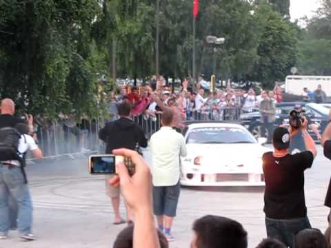 Gumball 3000 in Belgrade – Toyota Supra making doughnuts in the car park