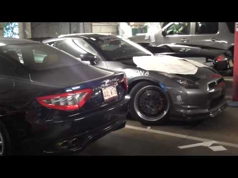 Gumball 3000 – Cars in Sticker Prep Nissan GT-R Maserati