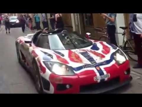 Gumball 3000 2013 Koenigsegg CCXR & Ferrari 458 making noise!!