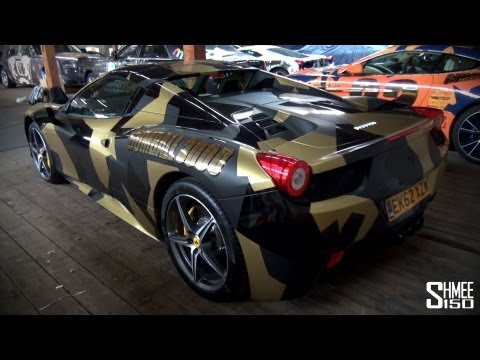 Gumball 3000 2013: Team Battery Energy Ferrari 458 Spider – Black and Gold Camo