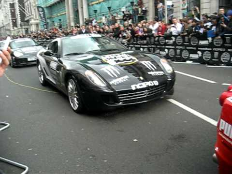 Cars At The Start Of The Gumball Rally 3000 In London 2010