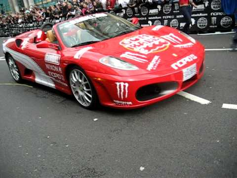 Cars Accellerating At The Start Of The Gumball Rally 3000 In London 2010