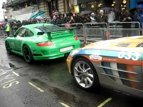 Gumball Rally 2011 Action In London Including 2 X Porsche And Mercedes SLR