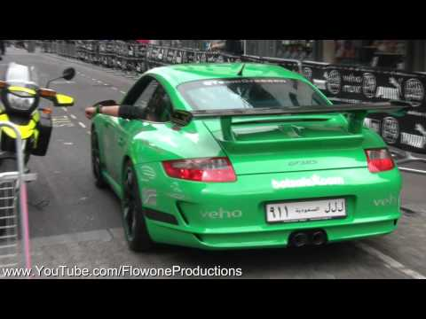 HD Porsche GT3 RS arriving at the Gumball 2011