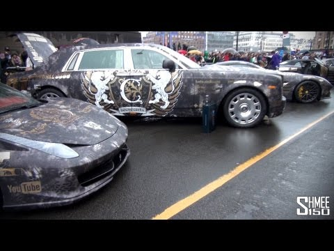 House Cartu: F12 Berlinetta, Novitec 458 Spider, Phantom II EWB at the Gumball 2013 Start