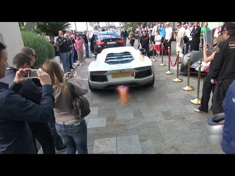 2013 Gumball 3000 Lambo action! Aventadors shooting flames and revving hard in Monaco!!