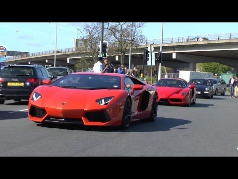 Lamborghini Aventador & LOUD Ferrari Enzo attend Gumball 3000 Meet!