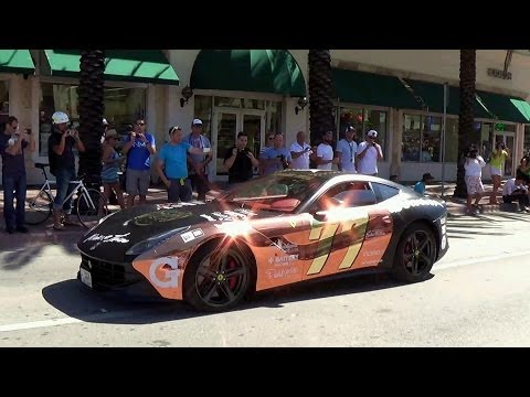 Start of the 2014 Gumball 3000 Rally From Miami 2 Ibiza.McLaren P1,Weismann MF5,Ferrari F12 and more