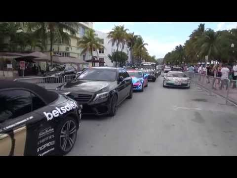 Lineup Ocean Drive in daylight Gumball 3000 Miami to Ibiza 2014