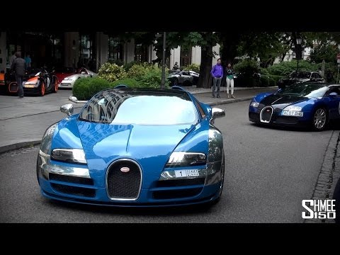 The Start of the 2014 Bugatti Grand Tour with 11 Veyrons