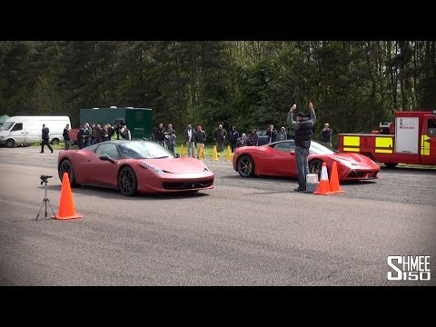 Ferrari 458 Speciale Powerslides and Race vs 458 Spider