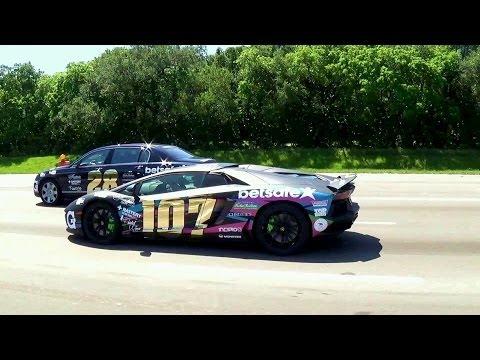 Gumball 3000 2014 supercars on the way to Atlanta  Lamborghini Aventador Ferrari F12 Rolls Royce
