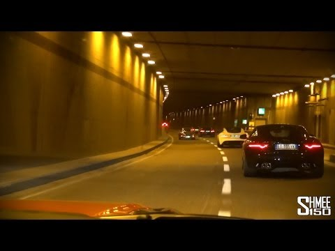 Nine Jaguar F-Type Rs Attack the Italian Tunnels