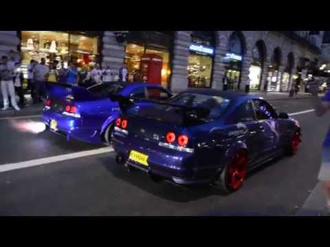 2 Nissan Skyline's spit flames at Gumball 3000, London 2014